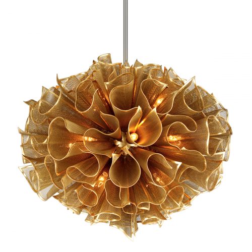 Large Ceiling Pendant 16 Light Gold Leaf Corbett Pulse 218-416-CE