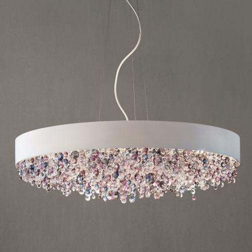 Masiero Ola Ceiling Large 90cm Pendant 8 x E27 Matt White Cold Crystal OLA-S6-90-V95