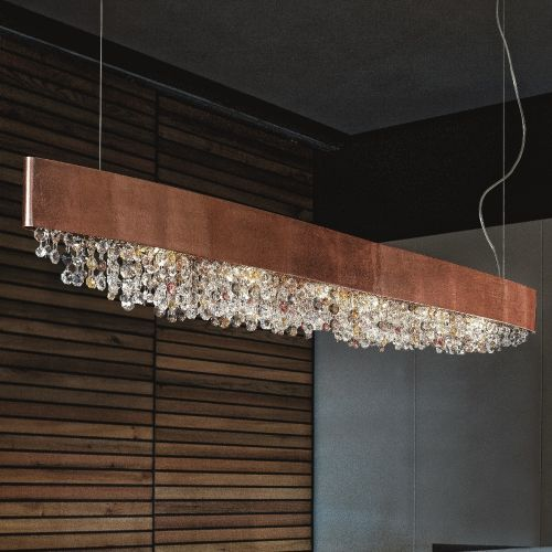Masiero Ola Ceiling Large 160cm Island Pendant 6 x E14 Copper Leaf Copper Colours OLA-S6-OV-160-F03