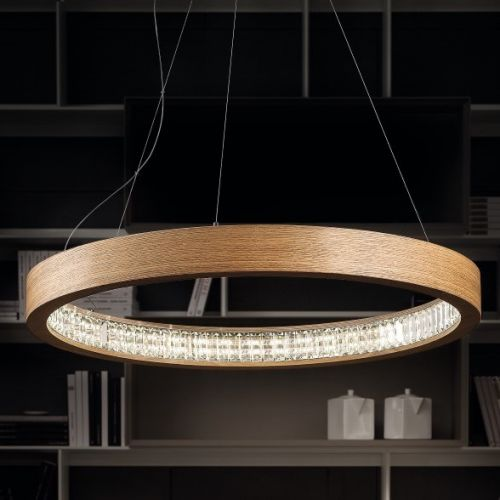 Masiero Libe Ceiling Large 115cm LED Pendant Light Wood LIBE-S115-W01