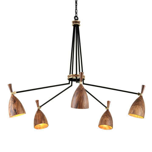 Multi-Arm Ceiling Pendant 5 Light Brass / Wood Corbett Utopia 280-05-CE