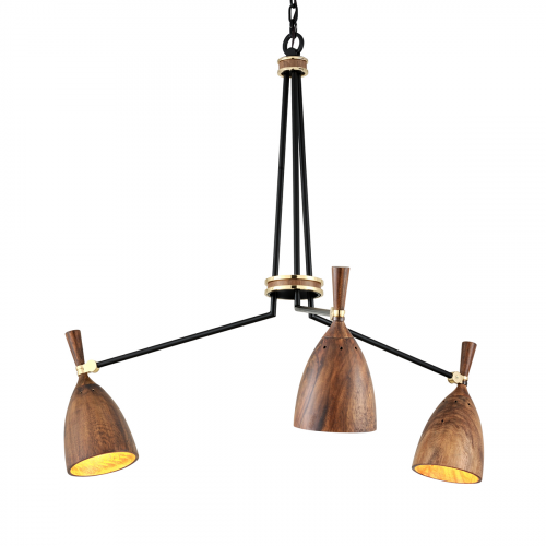 Multi-Arm Ceiling Pendant 3 Light Brass / Wood Corbett Utopia 280-03-CE
