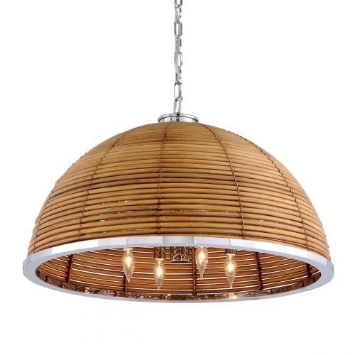 Large Ceiling Pendant 8 Light Rattan / Steel Corbett Carayes 277-48-CE