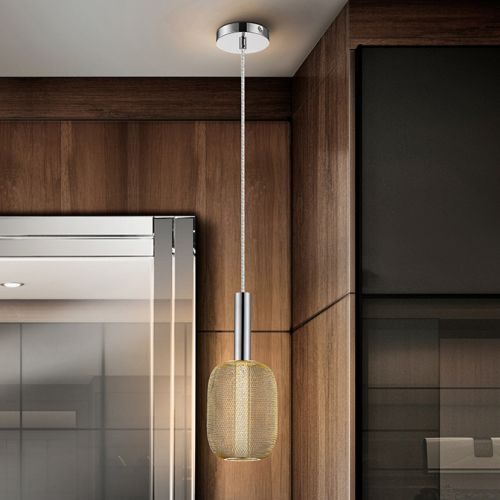 Schuller Micron 413503 LED Single Pendant Chrome and Gold