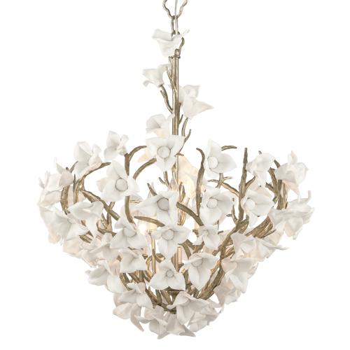 Ceiling Pendant 6 Light Silver Leaf Corbett Lily 211-47-CE