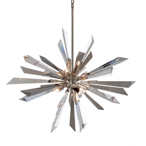Large Ceiling Pendant Silver Leaf 6 Light Corbett Inertia 140-47-CE