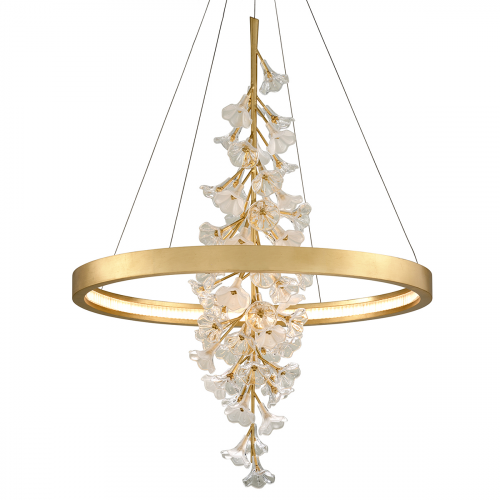Large LED Ceiling Pendant Gold Leaf Corbett Jasmine 268-72-CE