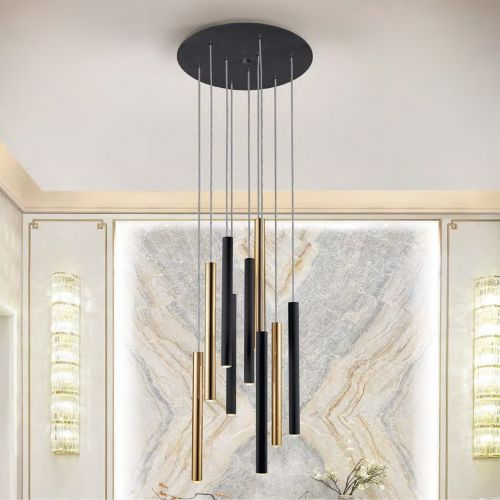 Schuller Varas 373272 LED 9 Light Round Black and Gold Pendant