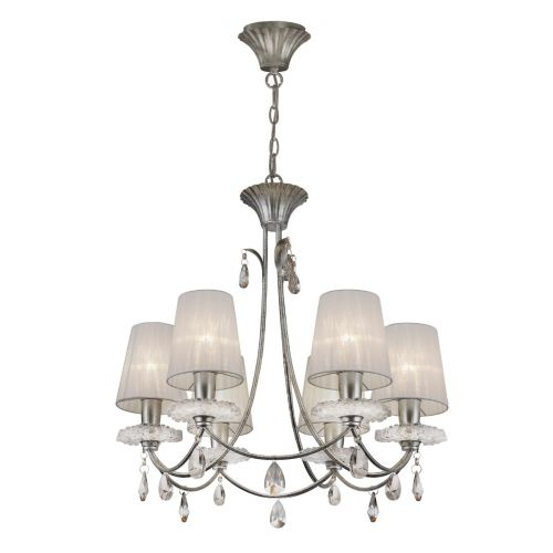 Mantra M6302 Sophie Medium 6 Light Silver Chandelier