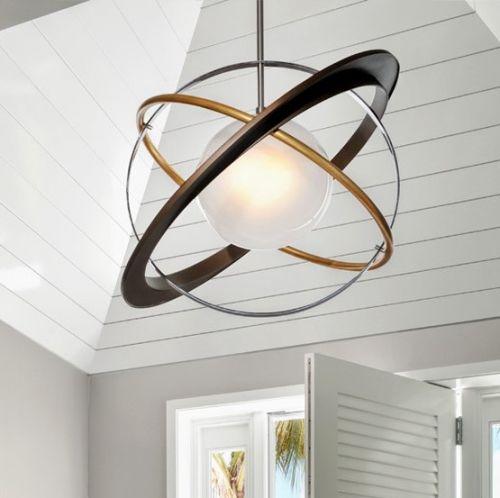 Large Ceiling Pendant Light Bronze / Gold Leaf Troy Apogee F5513-CE