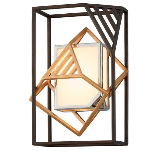 Wall Light Bronze / Gold Leaf Troy Cubist B6081-CE