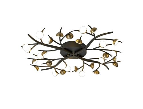 Semi-Flush Ceiling 28 Light Black/Antique Brass Chic LEK3306
