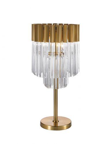Table Lamp 3 Light E14 Brass/Glass Irvin LEK3315