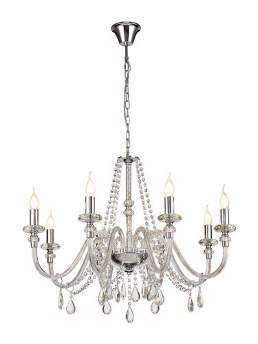 Chandelier Pendant 8 Light Polished Chrome/Clear Glass/Crystal (ITEM REQUIRES CONSTRUCTION) Pilton LEK3383