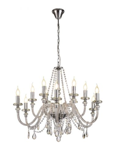 Chandelier Pendant 12 Light Polished Chrome/Clear Glass/Crystal (ITEM REQUIRES CONSTRUCTION) LEK3384