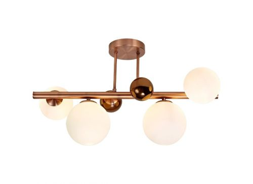 Semi Flush Ceiling Light 4 Light Antique Copper/Opal & Copper Glass Rocco LEK3490