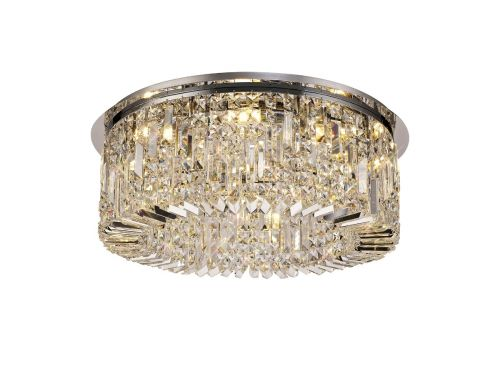 Round Flush Chandelier 8 Light E14 Polished Chrome/Crystal Kondo LEK3631