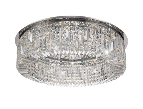 Round Flush Chandelier 12 Light E14 Polished Chrome/Crystal Kondo LEK3632