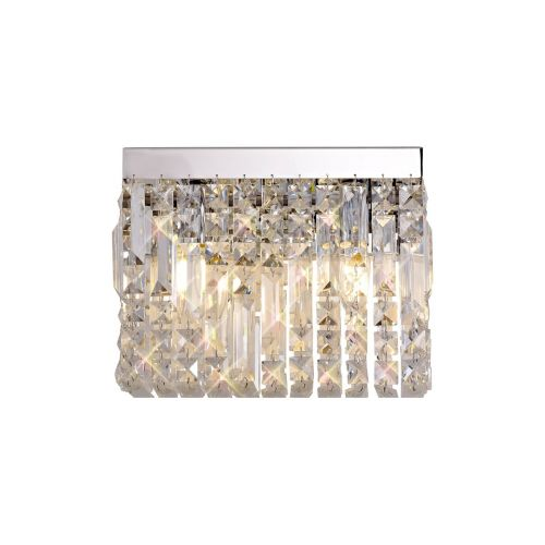 Rectangular Small Wall Lamp 2 Light E14 Polished Chrome/Crystal Kondo LEK3637