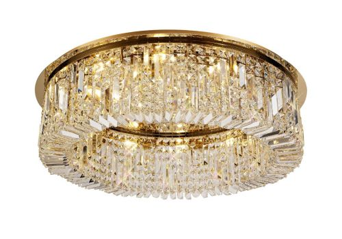 Round Flush Chandelier 12 Light E14 Gold/Crystal Kondo LEK3641