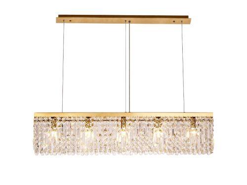 Rectangular Pendant Chandelier 5 Light E14 Gold/Crystal Kondo LEK3644