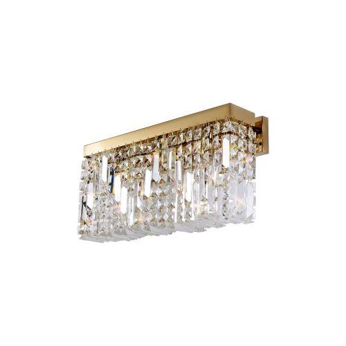 Rectangular Large Wall Lamp 3 Light E14 Gold/Crystal Kondo LEK3647