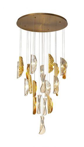 Large Ceiling Pendant 21 Light Brass/Copper & Cognac Glass Maryland LEK3686