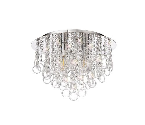Flush Ceiling 4 Light Polished Chrome/Crystal Revi LEK3759