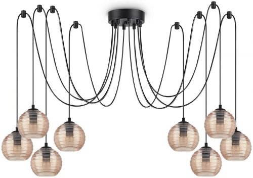 Ideal Lux Riga Chandelier 8 Light Amber IDE/241173