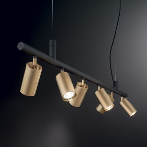 Ideal Lux Dynamite Spotlight Bar 6 Light Satin Brass IDE/244648