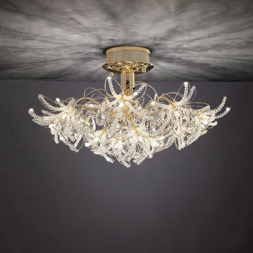 Diyas IL30890 Kenzo Semi-Flush Ceiling Fitting 12 Light French Gold Crystal