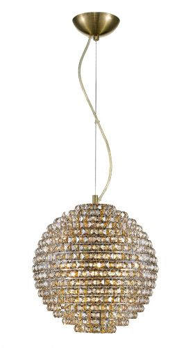 Impex Nord 5 Light Ceiling Pendant Fitting Antique Brass with Clear Crystal Finish IMP/CFH608241/L/AB