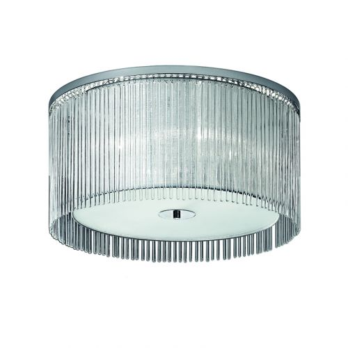 Flush Ceiling 4 Light Fitting Chrome Shade And Glass Rods Philia LEK61161