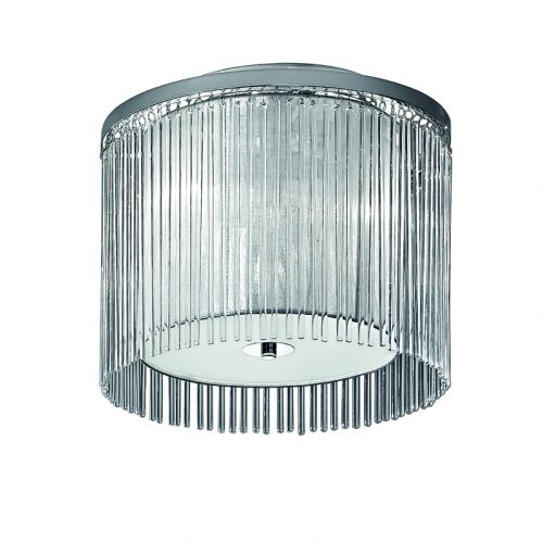 Flush Ceiling Fitting Chrome Lurex Shade And Glass Rods Philia LEK61160