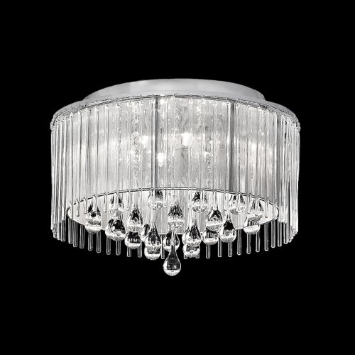 Flush Ceiling Fitting 6 Light Crystal And Glass Drops Chrome Liberty LEK60840