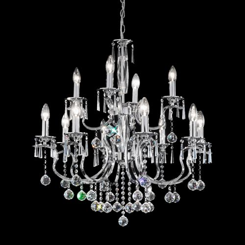 Crystal Chandelier 12 Light Fitting Chrome Dalston LEK60620