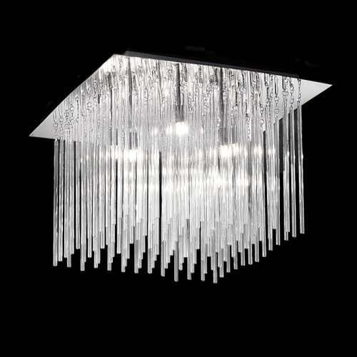Flush Ceiling Fitting 8 Light Chrome With Glass Rods Marimba  LEK60469