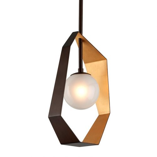 Troy 1 Light Pendant Bronze With Gold Leaf Troy Origami F5523-CE