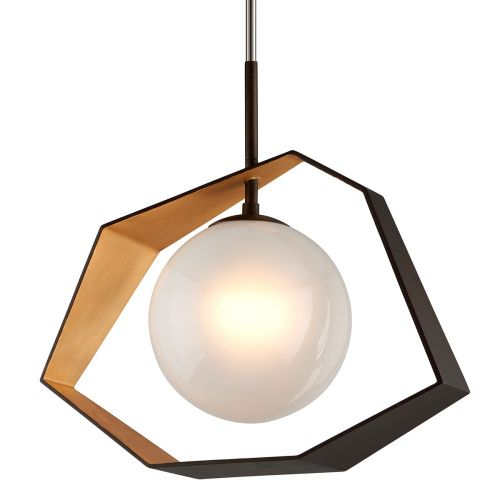 Troy 1 Light Pendant Bronze With Gold Leaf Origami F5526-CE