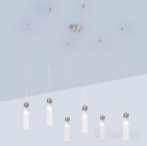 Kolarz Raggio 6 Light Ceiling Pendant Silver Leaf 6009.30650