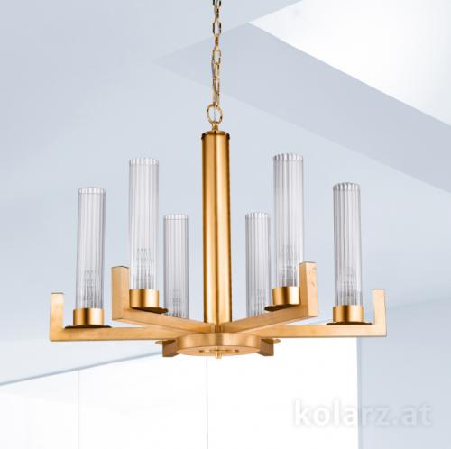 Kolarz Raggio 6 Light Ceiling Chandelier Gold Leaf 6009.80630
