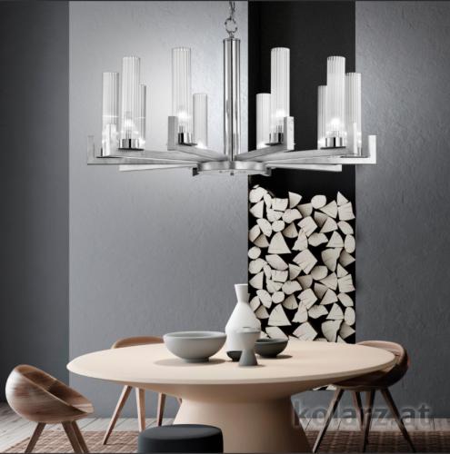 Kolarz Raggio 10 Light Ceiling Chandelier Silver Leaf 6009.81050