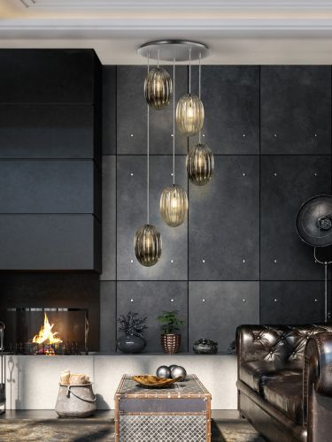 Schuller Ovila 752268 5 Light LED Ceiling Pendant Chrome Cognac Smoky Grey