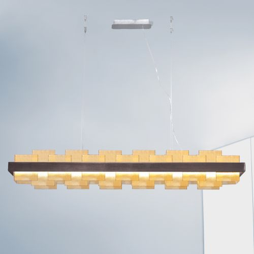 Kolarz Rettangolo 1 Light LED Linear Bar Ceiling Pendant 6040.80160/A Brunito rushed Amber Glass