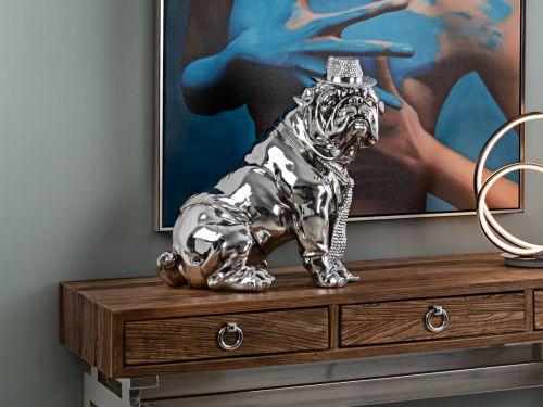 Bulldog Medium Decorative Figure Chrome