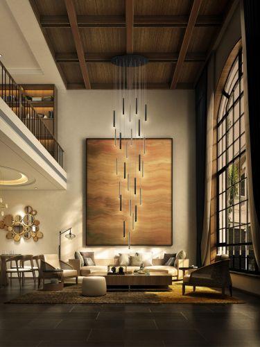 Schuller Varas 373968G 25 Light Large Ceiling Pendant 5 Metre Drop Gold/Black