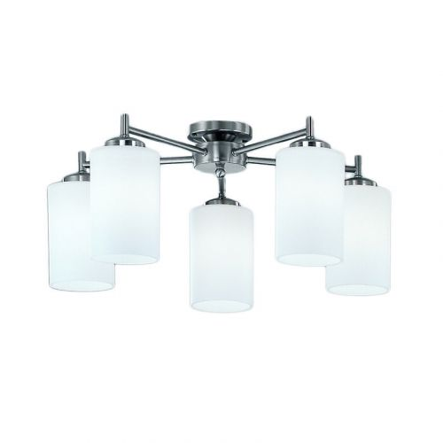 Semi-Flush 5 Light Ceiling Fitting Matt Nickel Nona LEK60172
