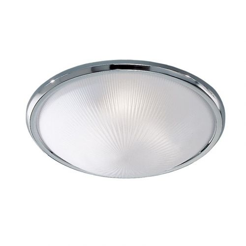 Flush Ceiling Fitting Frosted Glass With Low Energy Options Chrome LEK60030
