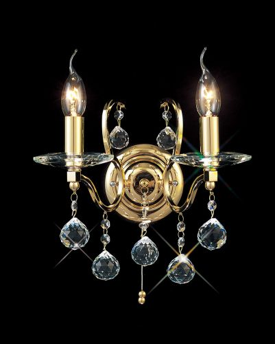 Diyas IL30222 Zinta Wall Lamp Switched 2 Light French Gold Crystal