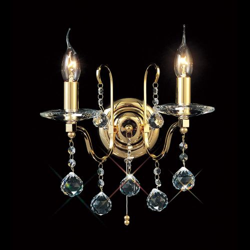 Diyas IL30212 Bianco Wall Lamp Switched 2 Light French Gold Crystal